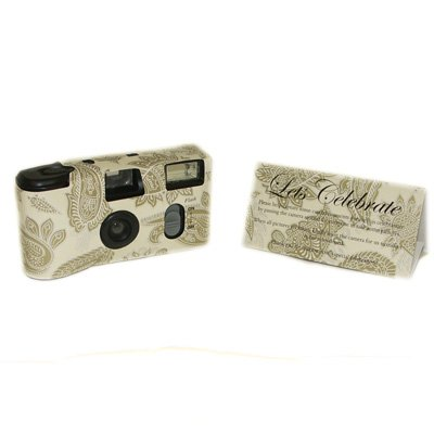 Single Use Disposable Camera - Cream & Gold Paisley Pattern - Y0105