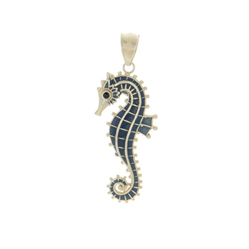 14K Gold Nautical Charm, 3D Seahorse With Blue Enamel