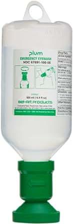 Bel-Art Plum 248800053 Eye Wash, 0.9% Saline, 500ml, Refill,  Pack of 3