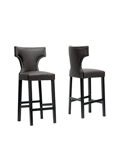 Baxton Studio Set of 2 Hafley Modern Bar Stools, Brown