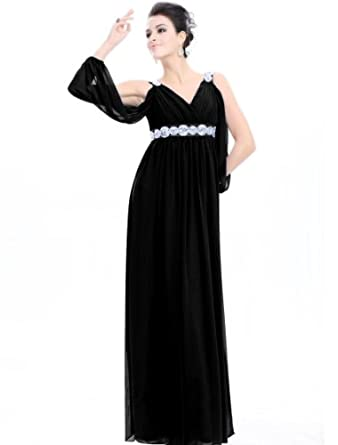Ever Pretty Ruffles Sexy Double V-neck Chiffon Long Bridesmaid Dress 09681, HE09681BK08, Black, 6US
