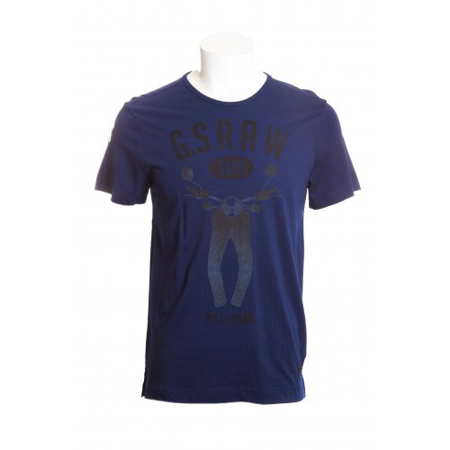G-Star raw mens restany short sleeve crew neck t-shirt in sapphire blue LGE