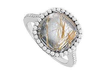 Genuine Rutilated Quartz and Diamond Ring 14K White Gold 2.50 CT TGW