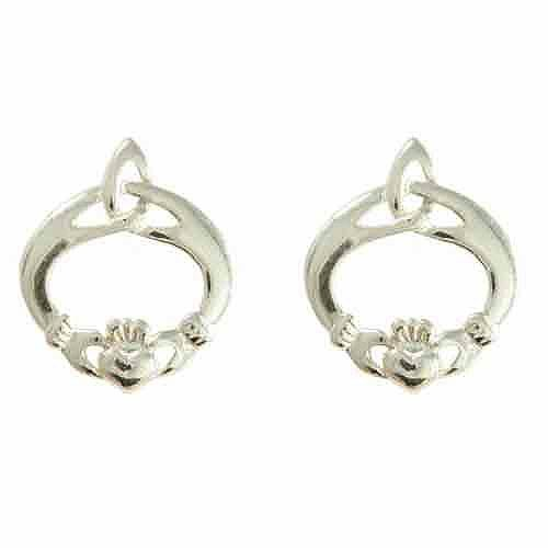 Sterling Silver Celtic Irish Claddagh Earrings