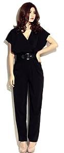 Demarkt Sexy Combinaison-pantalon Femmes en Voile avec Ceinture/ Couleur Noir/ Taille Unique