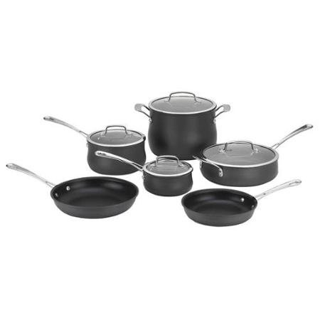 Cuisinart Contour Hard Anodized Cookware - 10 Pc. Set - 1 Quart Saucepan, 2.5 Quart Saucepan, 3 Quart Saute, 8 Quart Stockpot, 8