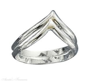 Sterling Silver Silver Double Chevron Ring Size 4