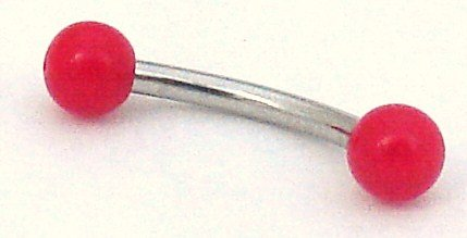 Pierced & Modified - Body Jewellery Eyebrow Bars - Neon Bright Micro Curved Barbell - Red