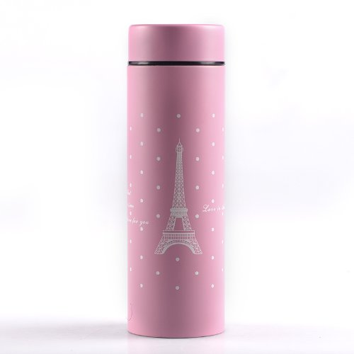 Ojia 10 Ounce Paris Eifferl Tower Stainless Steel Vacuum Insulated Thermos Hydration Bottle Travel Tumbler Flask (Pink)