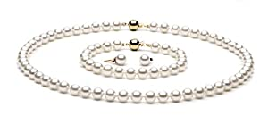 AAA Quality, 7.0-7.5 mm, White Akoya Pearl Set, 18-inch Necklace, 7.5-inch Bracelet, Earrings, 14k White Gold