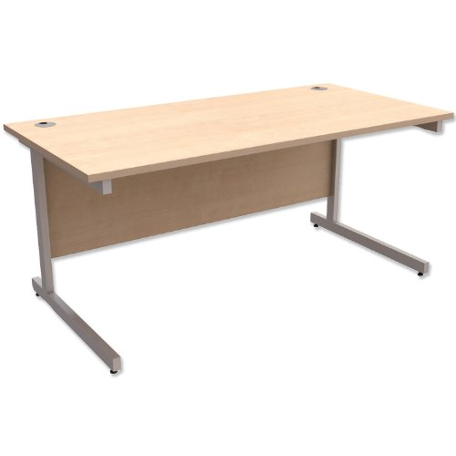 Trexus Contract Desk Rectangular Silver Legs W1600xD800xH725mm Maple