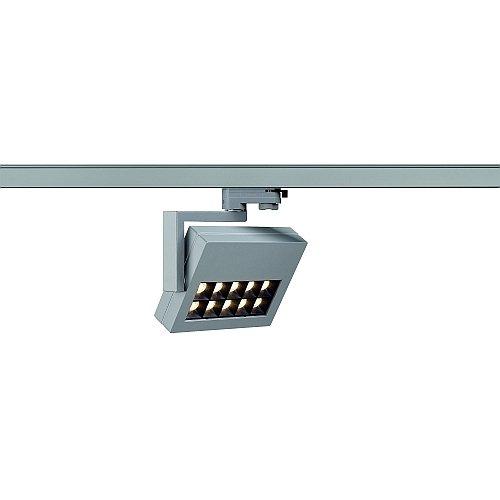 SLV LED 3-Phasen Strahler Profuno, 18W, 3000 K, 60 Grad, inklusiv Adapter, silbergrau 152554