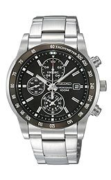Seiko Chronograph Steel Bracelet Black Dial Men's watch #SNDC99