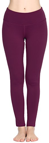 Women Power Flex Yoga Pants Workout Running Leggings - All Colors Plum L