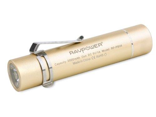 RAVPower 3000mAh モバイルバッテリー 超小型 スティックタイプ LEDライト付き 5V/1A RP-PB08 (ゴールド)