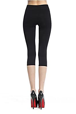 Franato Women's Seamless Fitted Knee Tight Absolute Workout Capri Legging