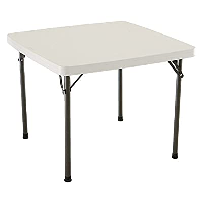 Lifetime Card Table with 37-Inch Square Molded Top, Almond