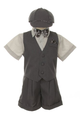 Dress Suit Outfit Set-Shorts,Bowtie,Vest, Short Sleeve Shirt & Hat for Infant Baby Boys & Toddler, Gray-Pinstripe