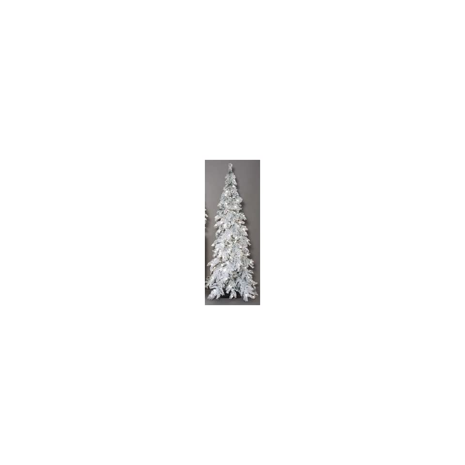 7 Heavy Flocked Snow Pre Lit Mountain Pine Christmas Tree