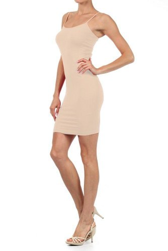 Women Solid Color Seamless Cami Dress with Spaghetti Straps (one size, oyster)