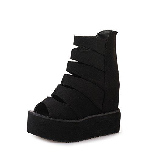 Primavera ed estate le scarpe crosta spessa focaccina/sandali vuoti testa di pesce è aumentato all'interno/scarpe da donna a Roma-B Lunghezza piede=23.8CM(9.4Inch)