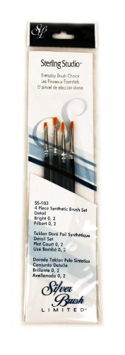 Silver Brush SS-103 Sterling Studio Golden Taklon Short Handle Bright Per Filbert Brush Set, 4 Per Pack - 1