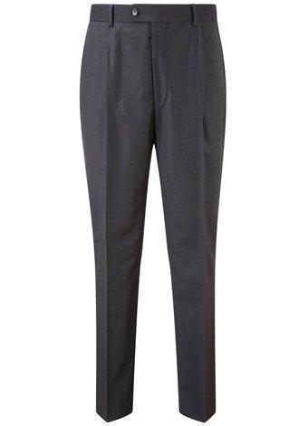 Austin Reed Regular Fit Charcoal Gaberdine Trousers LONG MENS 44