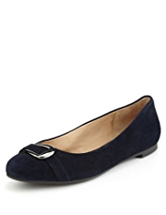 Footglove™ Premium Suede Buckle Trim Pumps
