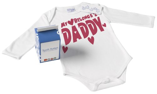 Spoilt Rotten - My Heart Belongs To Daddy Baby Babygrow / Bodysuit Organic Baby Clothing 100% Organic Sizes 12-18 months WHITE + in funky Milk Carton