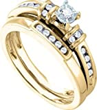 14k Yellow Gold Round Diamond Bridal Wedding Engagement Ring Band YG Set Womens thumbnail