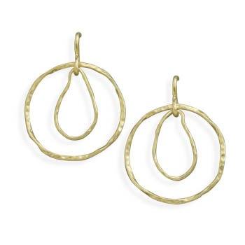 14 Karat Gold Plated Textured Drop Earrings