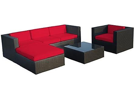 Poly-Rattan Gartenmöbel 'Velada' schwarz, 2 (!) edle Bezug-Sets, rot+