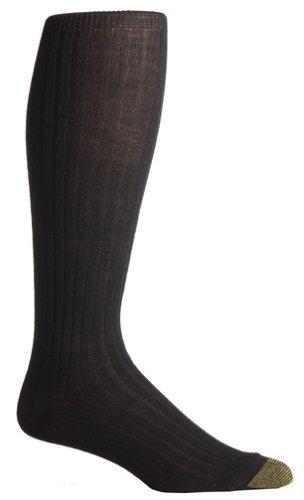 Gold Toe Men's Windsor Wool Over the Calf Dress Sock, Black, 3-Pack Sock Size 10-13