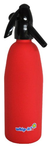 Whip-It 1-Liter Soda Siphon, Rubber Coated, Red (Soda Siphon Cartridge Holder compare prices)