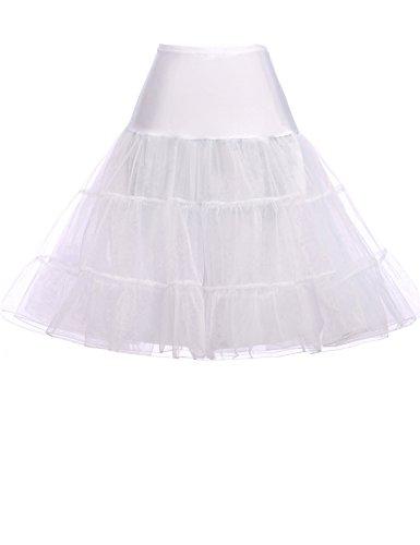 Short Petticoat Net Underskirt for Celebrity Dresses (M,White)