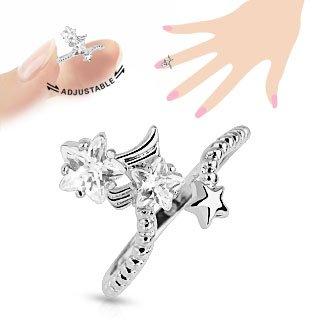 bungsa® Nail anello stella con zirconi cristalli Nail anello anello per le dita per da donna (argento Zehring fusssc hmuck anello Toe anello Medie anello unghie flessibile regolabile)