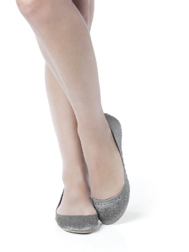 Women's Satin Rhinestone Ballet Flats by Dessy - Charcoal Gray - Size 10