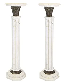 Casa Padrino Baroque marble columns Set White Height - marble column (2 pcs)