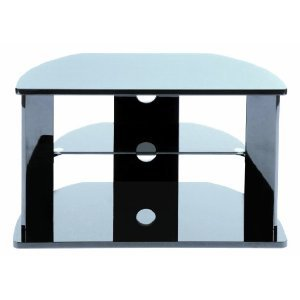 Designer Habitat - Black High Gloss MDF TV stand with Tempered Glass Shelf for up to 37
