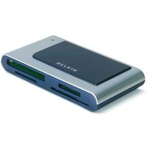 Belkin Hi-Speed USB 2.0 15-in-1 FlashCard Reader/Writer. 15N1 MEDIA READER/WRITER USB 2.0 FL-RDR. 15-in-1 - CompactFlash Type I, CompactFlash Type II, Microdrive, Secure Digital (SD) Card, MultiMediaCard (MMC), SmartMedia Card (SM), xD-Picture Card, RS-MMC, miniSD Card, Memory Stick, Memory Stick PRO, Memory Stick Duo, Memory Stick PRO Duo, Memory Sti