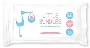 Little Bundles Sensitive Fragrance Free Baby Wipes 12 packs of 72 wipes (864 wipes in total)