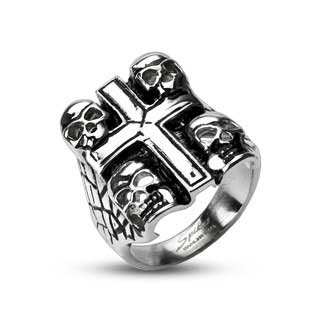 6MM High Polished Stainless Steel Biker Ring With Four Death Skulls around Center Cross