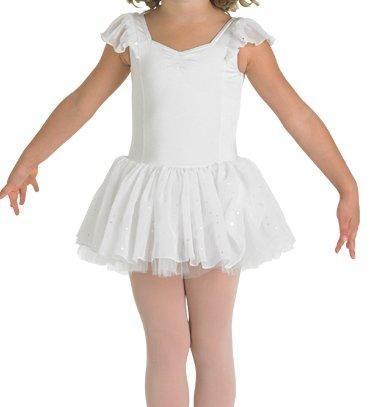 Kinder Ballettanzug mit Voile-Ärmelchen und doppeltem Glitzer-Tüllröckchen