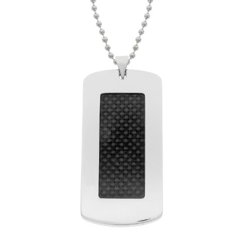 Men's Stainless Steel and Carbon Fiber Dog Tag Pendant Necklace, 22