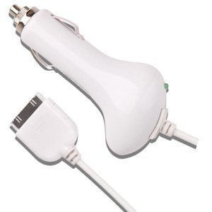 Car Charger for Apple iPad, iPad2, iPhone 3G, iPhone 3GS, iPhone 4, iPod Touch 4G, Nano 6th. Support all iPad, iPod, iPhone Models (Generic, White)
