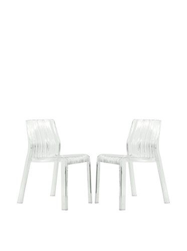 LeisureMod Set of 2 Ruffle Modern Dining Chairs, Clear