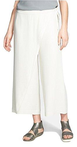 Eileen Fisher Wrap Front Wide Leg Silk Crop Pants Silver Petite Small
