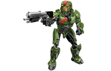 Megabloks Green Spartan (Red team) with Battle Rifle