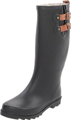 Chooka Women's Chooka Top Solid Tall Rain Boot, Black Matte, 6 M US