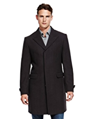 Autograph Wool Rich Peak Lapel Coat